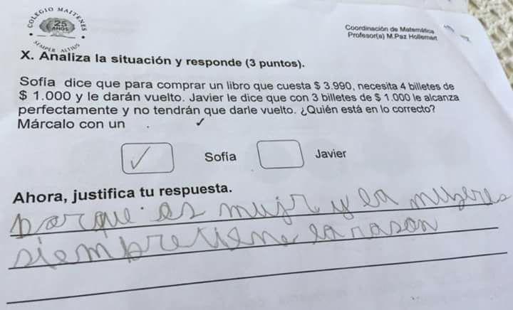 «Las mujeres siempre tienen la razón»; así justificó niño su respuesta en examen.