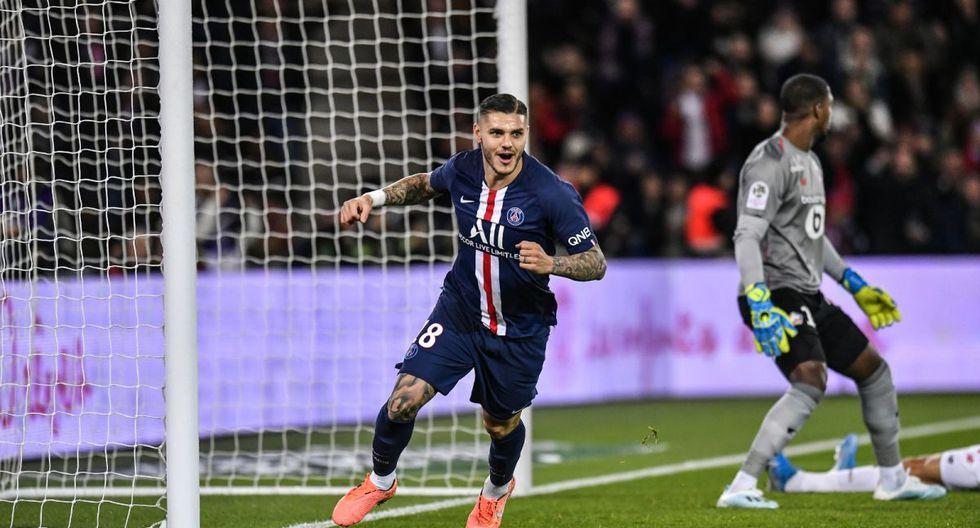 PSG venció 2-0 Lille con goles Icardi y Di María y es líder de la Ligue 1