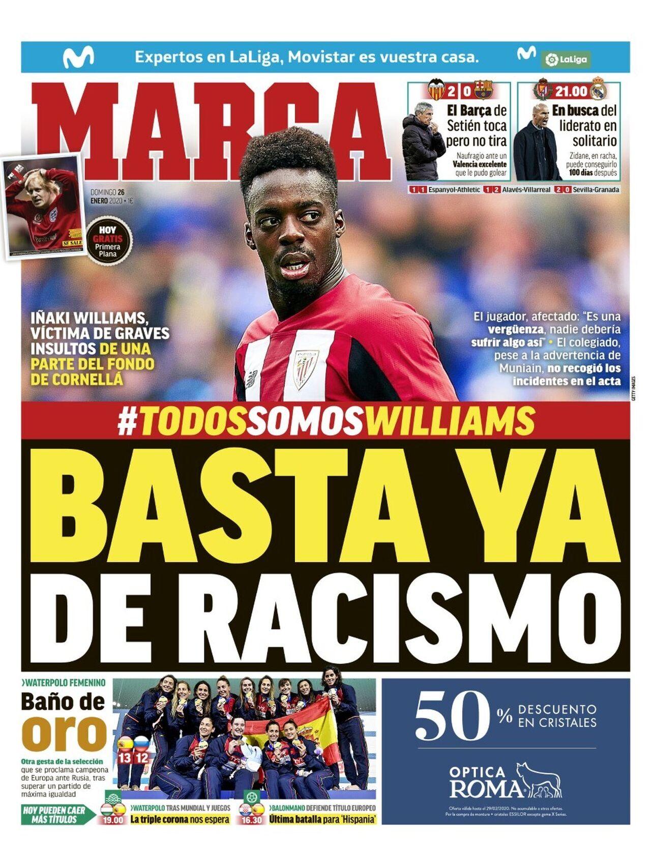 """""""Basta ya de racismo"""": La portada del diario Marca tras insultos a Williams."""